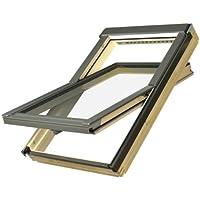 Dachfenster Fakro Schwingfenster 134x140cm Holz mit automatischer Dauerlüftung V40P Standardverglasung U3 mit Ziegeleindeckrahmen Thermo