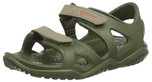 Crocs swiftwater river sandal k, punta aperta unisex-bambini, verde (army green 309.), 30/31 eu