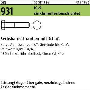 DIN 931 10.9 M16 x 140 verzinkt 25 Stk Sechskantschraube mit Schaft