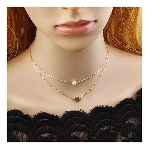 Schlichte Pfirsich-Herz-Schlüsselbein-Kette weiblicher Schmuck feine Kette Liebes-Anhänger doppelte kurze Halskette, metall, gold, Einheitsgröße