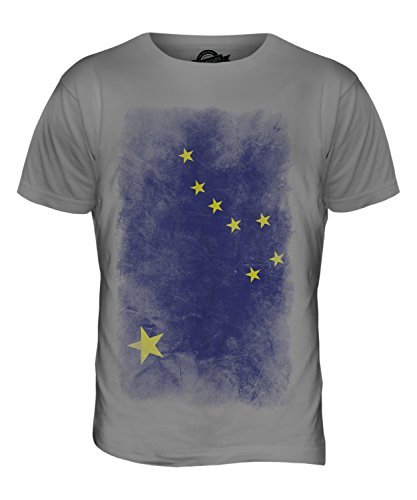 CandyMix Bundesstaat Alaska Verblichen Flagge Herren T Shirt Hellgrau