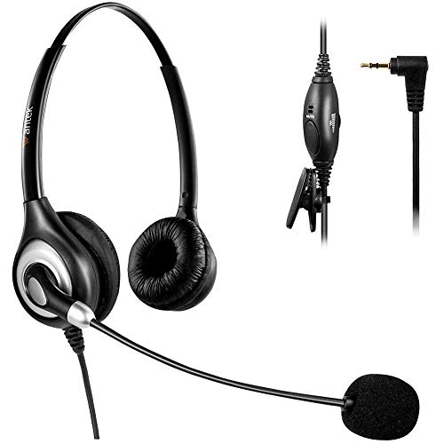 Arama 2,5mm Telefon Headset Dual mit Noise Cancelling Mikrofon, Lautstärkeregler, Festnetztelefone Kopfhörer für Siemens Gigaset Panasonic Grandstream Polycom Schnurlostelefon(A602CP)