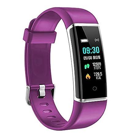 moreFit Fitness Armband Kinder, Wasserdicht IP67 GPS Fitness Tracker Farbbildschirm Aktivitätstracker Schrittzähler Uhr mit Stoppuhren Vibrationsalarm Anruf SMS Beachten für Damen Herren Kinder, Lila