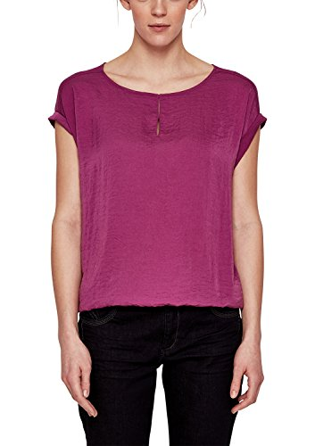 s.Oliver RED LABEL Damen Blusenshirt im Fabric-Mix Vivid Magenta 38 (Saum-label)