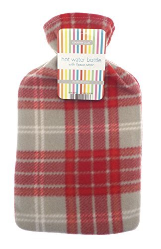 Lightweight Fleece Cover 2L Hot Water Bottle (Red Check) by Country Club -