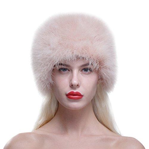 URSFUR Frauen Schöne Pelzmütze aus Echte Strauß Fell Wintermütze Baskenmütze Pill Box Hat - pink