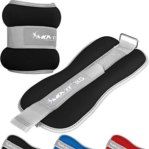 MOVIT® 2er Set Pro Gewichtsmanschetten Neopren mit Frottee-Innenseite und Reflektormaterial, 2X 1,0kg in schwarz, Laufgewichte für Hand- und Fußgelenke