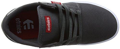Etnies Kids Barge Ls, Chaussures de Skateboard Mixte Enfant Grey (Dark Grey/Grey/Red)