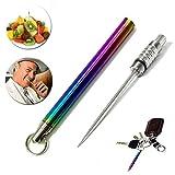 Palillo de dientes de titanio puro multifunción portátil y ligero de viaje, palillo de dientes de acero - palillo de camping para exteriores