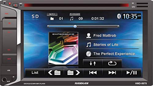 Hamaan HMD-9970 7 inch Touch Screen Double Din Car Multimedia DVD Player with FM Radio, Bluetooth, USB, SD Card & AUX-in, Steering Wheel Controls + Remote