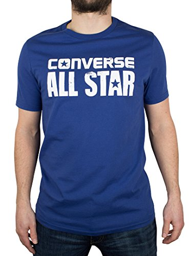 Converse Uomo All Star Cracked Logo T-Shirt, Blu, Medium