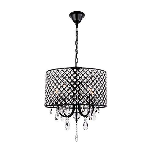 Große Kristall-Kronleuchter-Pendelleuchte, 4 Lichter, mit Kristallperlen-Fassadenfarbe, Deckenleuchte.