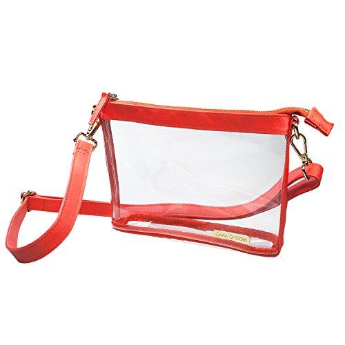 Capri Designs deutlich Fashion Klar Klein Crossbody (Stadion Ansprüchen gerecht), Orange -