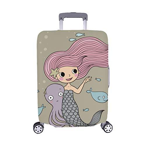 ette kleine Meerjungfrau mit Meerestieren Muster Staubschutz Trolley Protector case Reise Gepäck Schutz Koffer Abdeckung 28,5 X 20,5 Zoll ()