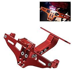 Motorrad Kennzeichenhalter mit LED Licht aus CNC 6061 Aluminum für YAMAHA SUZUKI Honda DUKE BWS R25 R3 MT03 MSX (Rot)