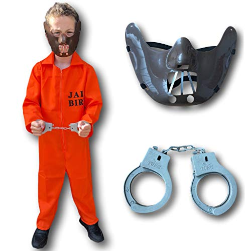 Häftling Kostüm für Kinder, Orange (Hannibal/Kinderschürzen Jailbird Halloween Fasching (Jailbirds Kostüm)