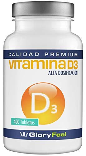 Vitamina D 8100 IU 400 comprimidos - Vitamina D3 vegana - 8.100 IU / 200 µg de Vitamina d concentrada por pastilla 100% Natural y pura - Calidad Premium fabricada en Alemania