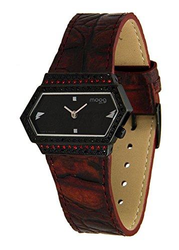 Moog Paris Broken Montre Femme avec Cadran Noir, Eléments Swarovski, Bracelet Rouge Foncé en Cuir Véritable - M45082-003