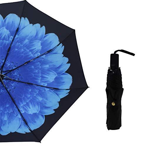 JUNDY Regenschirm, Mini Umbrella Leicht,Taschenschirm, faltender Visier-Sonnenschutz- Dreifachgefalteter schwarzer Kunststoff-Taschenschirm Farbe1 98cm -