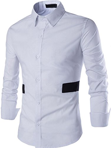 jeansian Herren Freizeit Hemden Shirt Tops Mode Langarmshirts Slim Fit 84D3 White