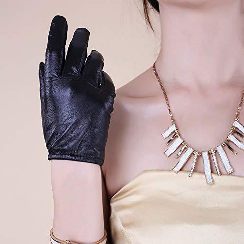 Agelec Neue Lederhandschuhe Weibliche Winter Dünne Koreanische Version Der Hand Kleine Ziege Touchscreen Handschuhe Reithandschuhe Weibliche Driving Lederhandschuh (Color : Warm Lining, Größe : S)