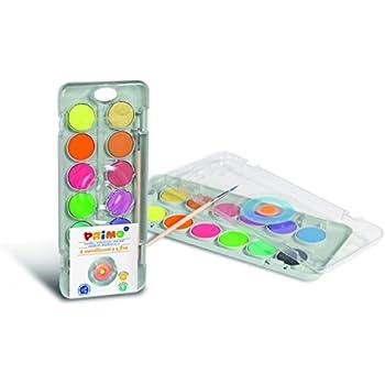 Deckfarbkasten, 8 Metallfarben und 4 Neon-Farben, inkl. Pinsel mit ...