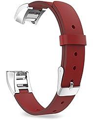 MoKo Fitbit Alta / Alta HR Correa - Reemplazo SmartWatch Band de Reloj Cuero Auténtico Imitado Pulsera Accesorios para Fitbit Alta / Alta HR Smart Fitness Tracker, Rojo