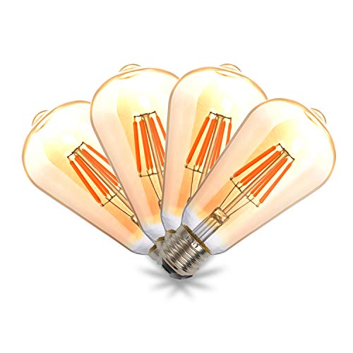 THINKMORE Bombilla Edison Vintage LED E27 Retro 8W Equivalente a 60W Blanco Cálido 2200K No Regulable 4 unidades