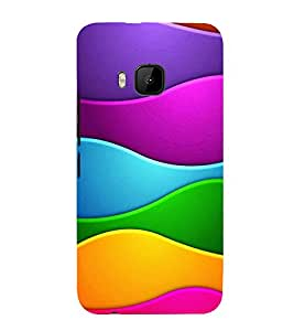 MULTICOLOURED INTERLOCKED WAVES PATTERN 3D Hard Polycarbonate Designer Back Case Cover for HTC One M9 :: HTC M9 :: HTC One Hima