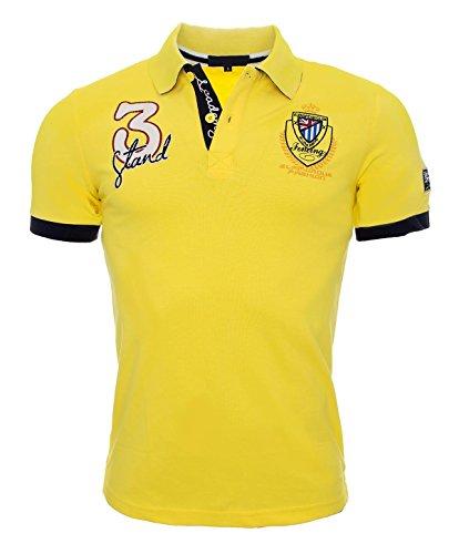Herren Polo Shirt Kurzarm Sommer Herren Hemd England S-3XL [H-038 Gelb Gr. M]