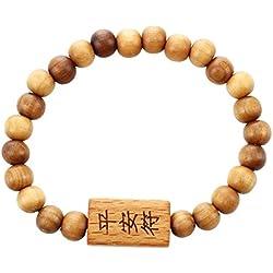 SODIAL(R) Pulsera tallada buda palabras del caracter chino cuentas de madera marron 8.2 Pulgada circunferencia