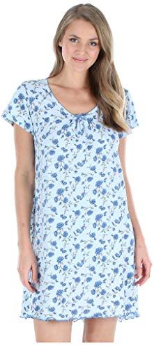 Sleepyheads Vêtement de Nuit en Coton Chemise de Nuit à Manches Courtes  - Mini Floral Rouge - S (38-40)