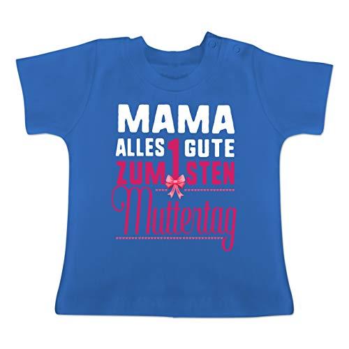 Muttertag Baby - Mama, Alles Gute zum 1sten Muttertag - 3-6 Monate - Royalblau - BZ02 - Baby T-Shirt Kurzarm