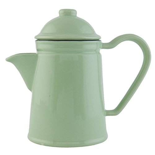 Clayre & Eef ELTEGR nostalgische Teekanne Kaffeekanne Teepott grün 06 l Keramik