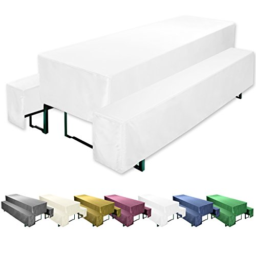 Gräfenstayn Biertischhusse Valentin 3er Set für Bierzeltgarnitur -70cm oder 50cm Tischbreite- Bierbankhussen (70 x 220 cm, Weiß)