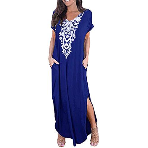 Makefortune  Womens Casual V Neck Short Sleeve Pocket Shirt Dress Split Maxi Dresses Floral Embroided Elegant Ladies Floor Length Long Dress -