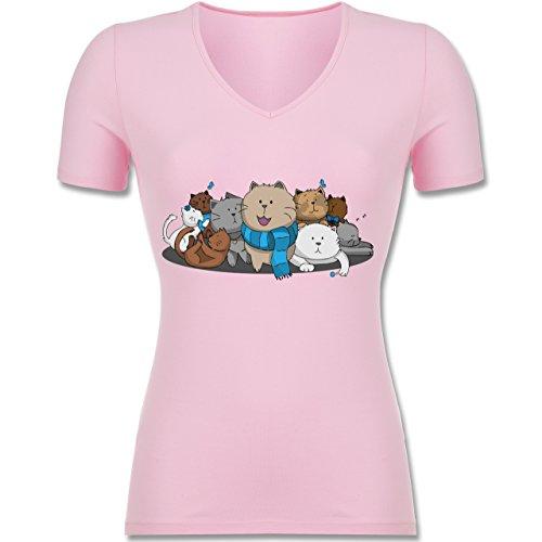 Katzen - süße Katzen - Tailliertes T-Shirt mit V-Ausschnitt für Frauen Rosa