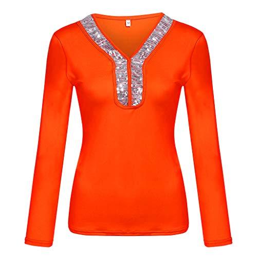 V-Ausschnitt T-Shirt Damen Langarm Casual Pailletten Langarm Tops Sommer Plus Size Lose Shirts Oberteil Bluse Schwarz, Weiß, Blau, Khaki, Lila, Wein, Pink, Orange S-XXXXXL -