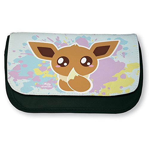 Trousse noire de maquillage ou d'école Pokemon Evoli Chibi Kawaii by Fluffy chamalow- Fabriqué en France - Chamalow shop