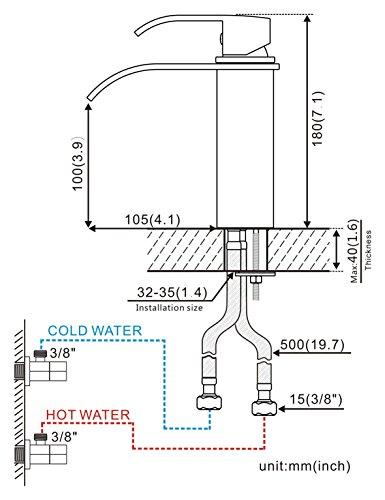 Auralum – Moderne Wasserfallarmatur für Waschbecken, Chrom - 2