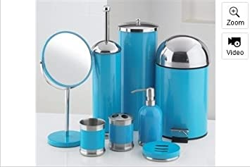 piece bathroom accessories set blue amazon co uk kitchen home - Blue Bathroom Accessories Uk