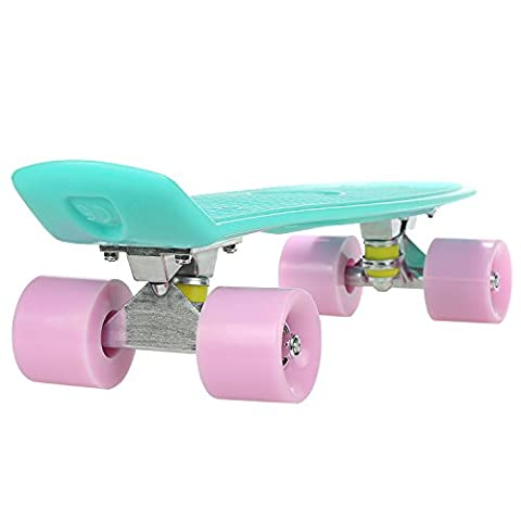 22 Inch Cruiser Skateboard Plastic Fish Board with Bendable Deck and Smooth PU Casters for Kids Boys Youths Beginners ,Multiple Colors (Green+Pink)