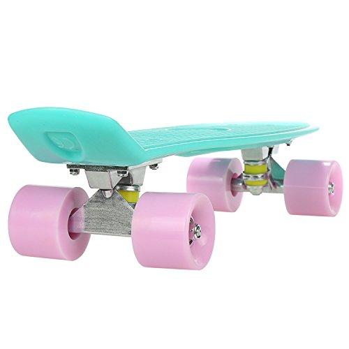 WeSkate 55 cm Mini Cruiser Retro Stil in M Rollen Komplett U Fertig Montiert Skateboard für Jungen Mädchen Kinder ab 5 jahre