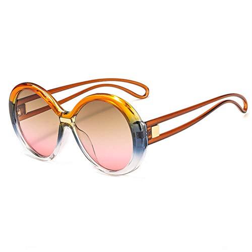 Wenkang Sonnenbrille Frauen Männer Gradient Big Frame Sonnenbrille Weiblich Vintage Runde Sonnenbrille Brille UV400,C7