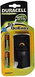 Duracell GoEasy Charger/Rechargable/Includes 2 AA Rechargeable Batteries,