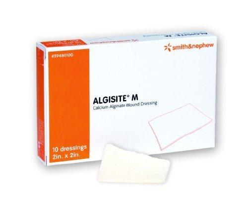 Algisite M Calcium Alginate Dressing 2 x 2 in. Pad size/Box of 10 by Smith & Nephew -