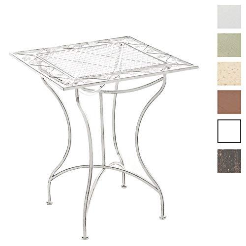 CLP handgefertigter Design Eisentisch ASINA 60 x 60 cm in nostalgischem Design, aus bis zu 2 Farben wählen antik weiß