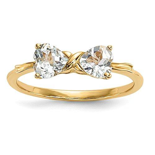 edelstein aquamarin Diamond2deal Ring 14 Karat Gelbgold Aquamarin Schleife Herzform Größe 7 (0,8 Karat)