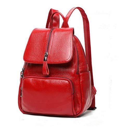 SHIZHESHOP Echtes Leder Mode Rucksack Schule College Bookbag Schulter Geldbörse Große Kapazität für Frauen (Color : Red) (Große Schule Bookbags)