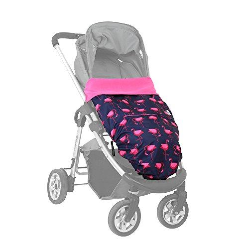 BundleBean GO - Fußsack für Kinderwagen & Autositze/Babytragen-Wetterschutz/Picknickdecke - wasserdicht - Flamingos